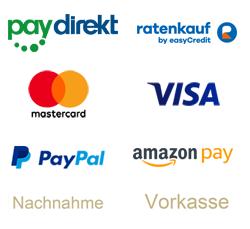 Sicher bezahlen mit allen gängigen Bezahlverfahren